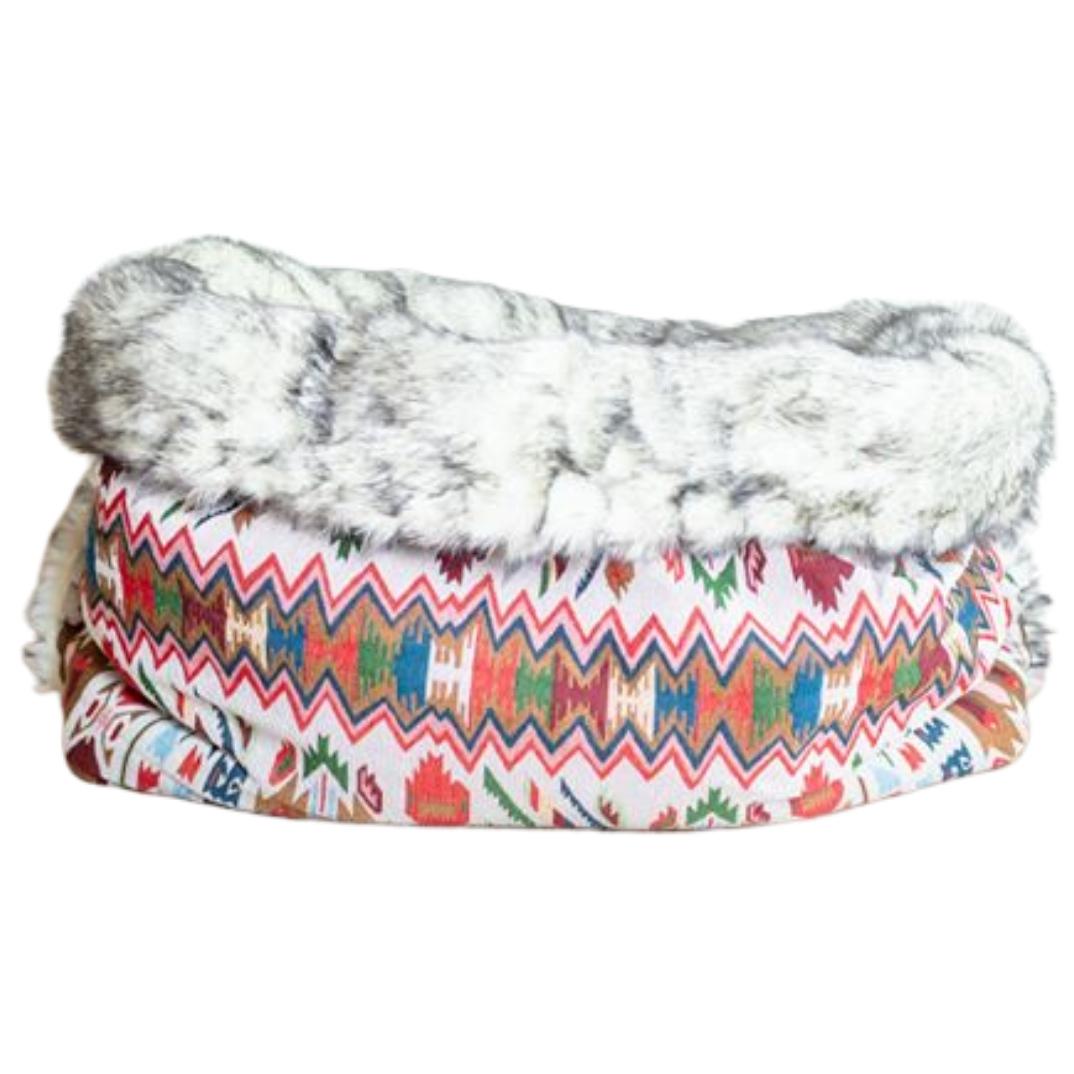 Hundesovepose i etnisk azteker stof og pelsindtræk