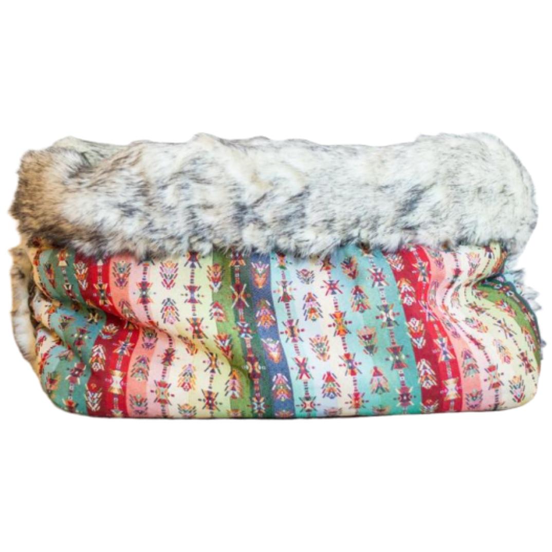 Hundesoveposet i azteker bomuldslærred med pels